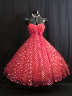 Vintage 1950's 50s Bombshell Strapless RED Silver by VintageVortex