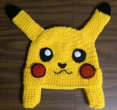 This Free Pokemon Pikachu inspired crochet hat pattern is quick, easy & fun to w. - This Free Pokemon Pikachu inspired crochet hat pattern is quick, easy & fun to whip up! Pokemon Crochet Pattern, Pikachu Crochet, Crochet Beanie Pattern, Crochet Patterns, Knitted Hat, Hat Patterns, Bonnet Crochet, Crochet Cap, Free Crochet