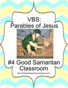 We did Parables of Jesus this year for Vacation Bible School. This will be the main post with the church building photos, craft ideas, an. Good Samaritan Bible Story, The Good Samaritan Lesson, Good Samaritan Craft, Bible Story Crafts, Bible Stories For Kids, Bible Study For Kids, Sunday School Kids, Sunday School Lessons, Sunday School Crafts