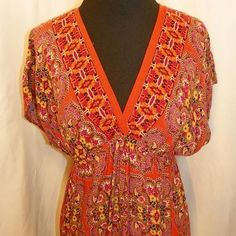 Xhilaration Paisley Summer Dress Short v-neck orange multicolor dress. Synched in at the waist line. 100% Rayon Xhilaration Dresses Midi