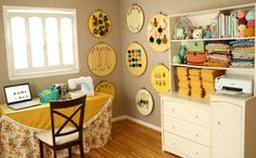 Love the embroidery hoop storage