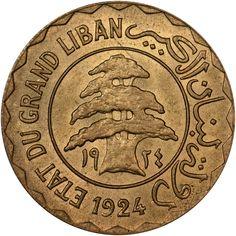 Lebanon 5 Piastres KM 2 Prices & Values Lebanon Culture, Lebanon Cedar, Arabian Art, Visit Venice, Coin Prices, Old Money, Print Packaging, World Coins, Coin Collecting
