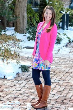 Lilly Pulitzer Amberly Swing Dress, Amalie Cardigan styled for winter! Tips to pull of Lilly Pulitzer in winter and everyday fashion ideas from Running in a Skirt! Girl Fashion, Fashion Outfits, Womens Fashion, Fashion Ideas, Fall Outfits, Cute Outfits, Summer Outfits, Cardigan Fashion, Preppy Style