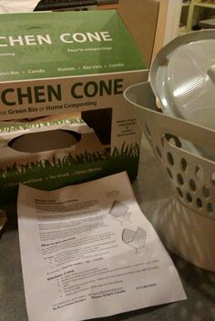 Kitchen compost collector. Uses newspaper for lining, is convenient air dries content so doesn't smell. Fold mess in the lining and carry to your composter or bin without the container. www.kitchencone.com  this really solved my green bin blues: great design. I recommend it. Sincerely.