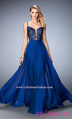 Long Sweetheart La Femme Prom Dress with an Open Back at PromGirl.com