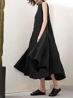 Black Crew Neck A-line Sleeveless Jacquard Maxi Dress