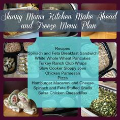 Skinny Mom's Kitchen Make Ahead and Freezer Cooking Menu Plan. Links to all recipes, grocery list, and make ahead instructions. All recipes have nutritional information listed.