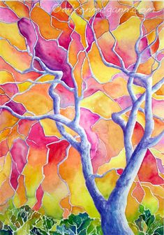 Eileen McGann art - recreate look with glue lines & watercolors