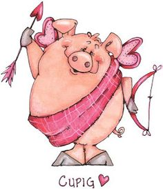 Cupig - Valentine Card Artwork designed by Made by Zazzle Greeting Cards in San Jose, CA This Little Piggy, Little Pigs, Valentine Day Love, Valentines, Pig Drawing, Pig Art, Cute Piggies, Flying Pig, Whimsical Art