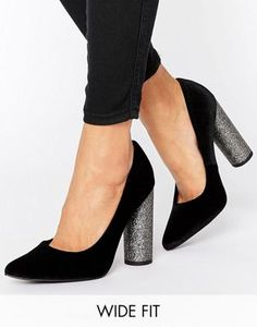 New Look Wide Fit Pointed Glitter Block Heel