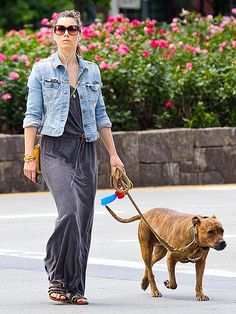 Jessica Biel rocked a chill maxi dress and jean jacket, paired with oversized square sunnies, while takin' her pup for a walk!