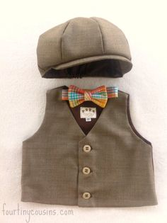 Boys vest  newsboy hat  bow tie ring bearer  by fourtinycousins, $80.00