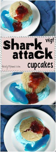 Shark Attack Cupcakes {Gluten-Free and Vegan} (AKA Strawberry Jam Filled Cupcakes) Best Dessert Recipes, Cupcake Recipes, Fun Desserts, Delicious Desserts, Yummy Food, Yummy Recipes, Vegan Recipes, Cooking Recipes, Vegane Rezepte