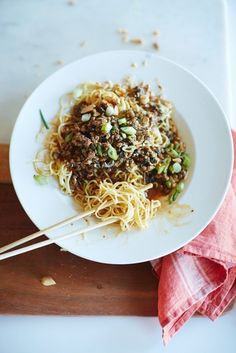 dan dan noodles / the kitchn (vegetable oil, black peppercorns and 1 star anise pod, cinnamon stick, red pepper flakes, ground pork (75% lean/25% fat), fresh ginger, scallions, lemongrass, garlic, Shaoxing wine or dry sherry, dark soy sauce, chinese five-spice powderm sui mi ya cai (Chinese preserved vegetables), hoisin sauce, chicken broth, sesame paste, dark soy sauce, dark brown sugar, fresh chow mein or ramen noodles,  sesame oil,peanuts)