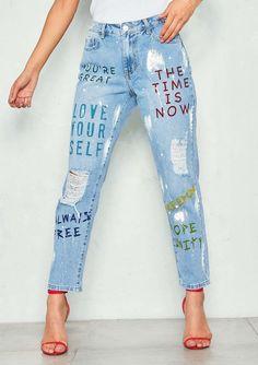 f7d751db517 Missyempire - Selena Denim Distressed Self Love Mom Jeans Mom Jeans
