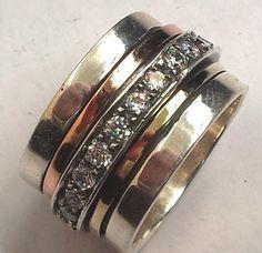 Meditation ring spinner sterling silver 9 ct gold cz zircon – Bluenoemi - My Jewelry