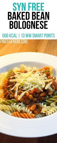 Our thrifty, slimming friendly Baked Bean Bolognese is a great way to feed the family and is perfect whether you're counting calories or Weight Watchers. Slimming World Dinners, Slimming World Breakfast, Slimming World Recipes Syn Free, Slimming World Diet, Slimming Eats, Slimming Word, Protein Snacks, Healthy Eating Recipes, Cooking Recipes