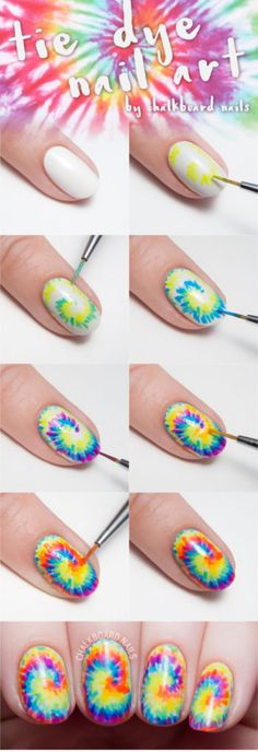 Awesome Nail Art Patterns And Ideas - Tie Dye Nail Art - Step by Step DIY Nail Design Tutorials for Simple Art, Tribal Prints, Best Black and White Manicures. Easy and Fun Colors, Shapes and Designs for Your Nails http://diyprojectsforteens.com/best-nail-art-patterns-tutorials
