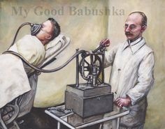 Anesthesia, Original Painting, Ether, Surgery, Vintage Medicine, Doctor, History of Medicine, Operation, Surreal, Macabre Art, Hospital by mygoodbabushka on Etsy