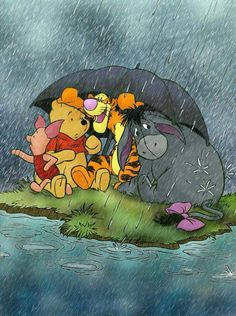 A. A. Milne/Disney's Winnie the Pooh,Tigger, Piglet and Eeyore caught in the rain.