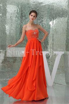 Beautiful Dark Orange Beading Floor-Length Sleeveless Prom Dresses 2013