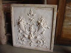 plaster relief | Plaster Bas Relief on Wood Plaque : Lot 13207