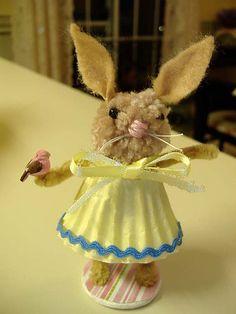 pom-pom bunny made with a cupcake liner