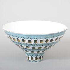 Handpainted faience bowl by Stig Lindberg for Gustavsberg, Sweden. 1950s. H: 11,5 cm D: 21 cm Price: 4 500 SEK