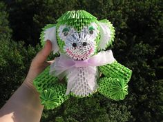Green monkey 3D Origami Handmade gift Modular by QuillingLife