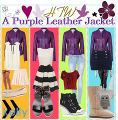 """""""HTW: Purple Leather Jackets"""" by the-polyvore-tips ❤ liked on Polyvore"""