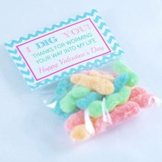 I Dig You Valentines Sour Worm Favour