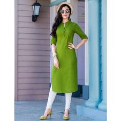 Product Features: Color: Green Bottom Color: White Fabric: Blended Cotton Bottom Fabric: Cotton Bottom Style: Churidar Product Type: Kurti Set Disclaimer: It is Made to order/Custom made products and cannot be exchanged or returned. Salwar Designs, Plain Kurti Designs, Simple Kurta Designs, Stylish Dress Designs, Kurta Designs Women, Kurti Designs Party Wear, Blouse Designs, Mode Abaya, Mode Hijab