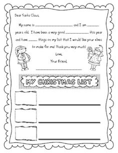 Letter And Christmas List To Santa Claus