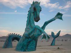 Hippocampus: From Burning Man 2002 Burning Man Sculpture, Burning Man Art, Sculpture Art, Nevada, Burning Man Fashion, Desert Life, Art Festival, Festival Wear, Black Rock