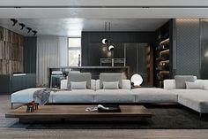 salón moderno con mesa madera