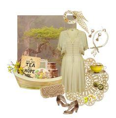 """Summer tea with pistachio dessert"" by valeria-mezhevikina ❤ liked on Polyvore featuring Miriam Haskell, Kim Seybert, Ghost, Caffè Florian, Donald J Pliner, Mar y Sol, Parlor, boho, pistachio and raffiaclutch"