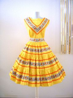 Vintage Yellow Rockabilly Patio Dress  40s 50s by OmAgainVintage, $125.00