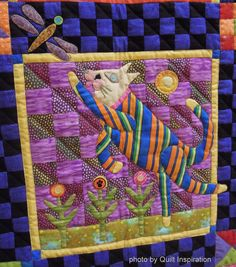 Cats Rule,made by Kathy Mack, quilted by Shannon Freeman.  Folk Art Cats design by John Simpkins. 2014 RCQG, closeup photo by Quilt Inspiration
