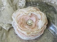 Wedding Large Hair Flower Pearl and Rhinestone  Bridal Accessory