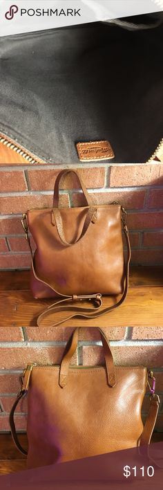 Madewell Mini Transport in English Saddle Good used condition - clean interior - no holds, no trades, no comments on pricing, no lowball offers - thank you Madewell Bags Crossbody Bags