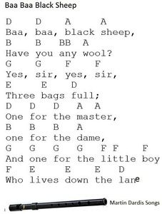 Baa baa black sheep - Tin whistle