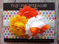 Triple Shabby Candy Corn Orange, White and Yellow with Orange Bow and Rhinestone on White elastic . Infant, toddler, child, teen sizes on Etsy, $9.00