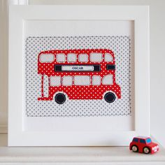 personalised london bus embroidered artwork by little foundry   notonthehighstreet.com