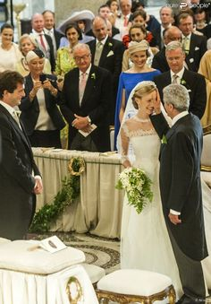 Prince Jean de Luxembourg,sa femme Diane de Guerre et le Prince Guillaume de Luxembourg - Mariage du Prince Amedeo de Belgique et de Elisabetta Maria Rosboch von Wolkenstein, à la basilique de Santa Maria à Trastevere, Rome, Italie le 5 juillet 2014.