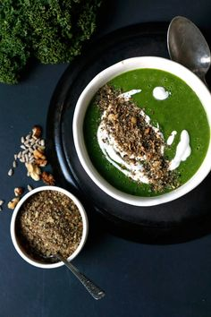 Celeriac Apple Kale Soup with Walnut Dukkah Recipe. Creamy wholesome and healthy vegan soup with fragrant walnut dukkah topping. Vegan Soup, Vegan Vegetarian, Vegetarian Recipes, Healthy Recipes, Free Recipes, Healthy Soup, Vegan Meals, Healthy Meals, Delicious Recipes
