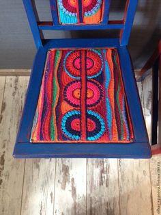 """Купить Стулья """"Два мексиканца"""" - мебель из дерева, стул, перу, синий цвет, бордовый, южноамериканский"""