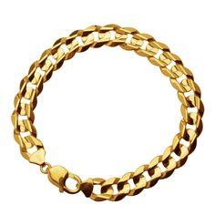 "Wonderful Gents' Gold Bracelet. 10k Yellow Gold 11mm Curb Chain Men's Bracelet, 9"". Price $1099.99"