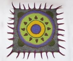 Felted rug, modern décor, geek décor, Mexican décor, purple green grey, blue yellow lime, square rug, gift for men.   Unique felted sheep wool rug will