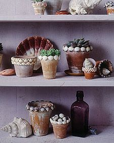 We gave these terra-cotta pots an aged look, then trimmed them with seashells.