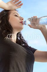 Photo: Girl drinks water from a bottle after exercising Drinking Water, Exercise, Stock Photos, Drinks, Bottle, Image, Ejercicio, Drinking, Beverages